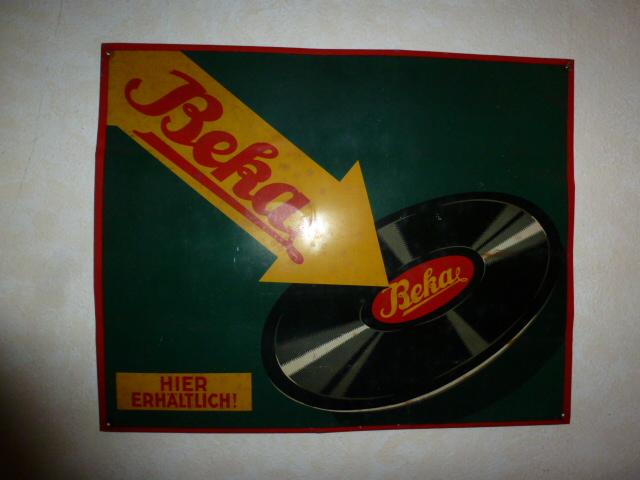 Metallschild BEKA Schallplattenfirma ca. 1920