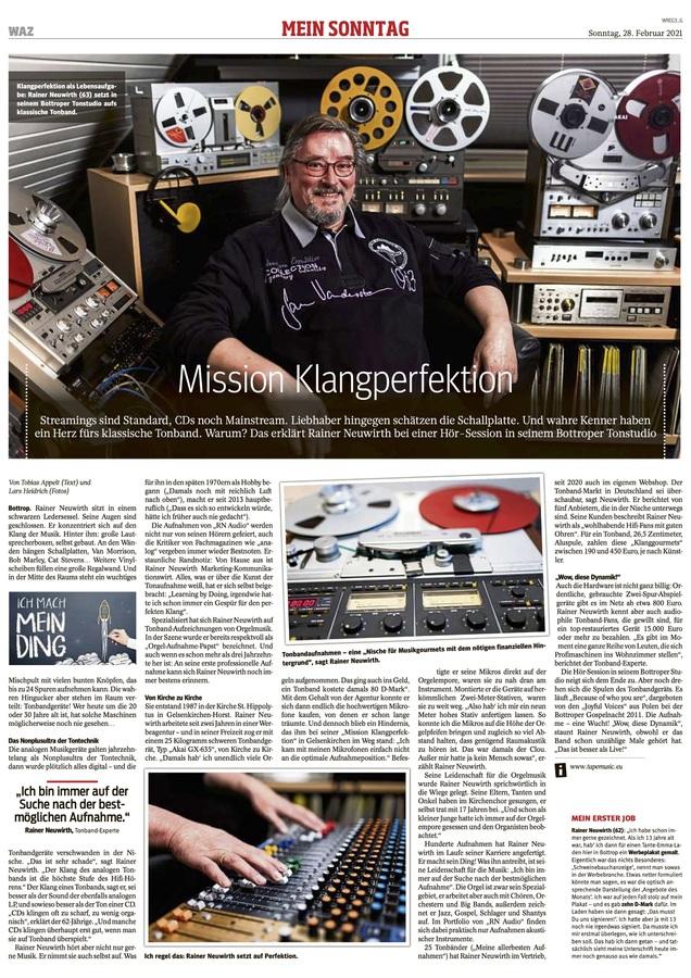 """Artikel WAZ Sonntag über """"RN AUDIO"""""""
