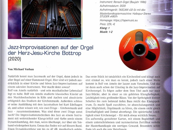"""Rezension von Michael Vorbau zur Masterbandkopie """"Jazz-Improvisationen"""""""